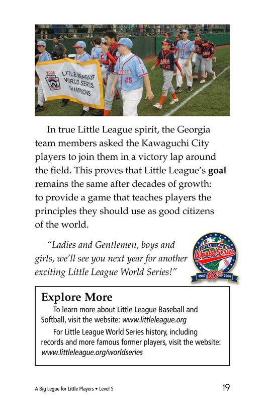 Book Preview For A Big League for Little Players Page 19